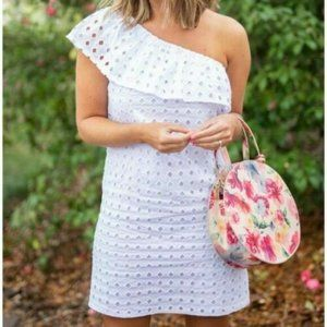 Gibson Eyelet One Shoulder Dress Small